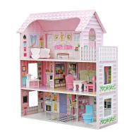 木质DIY儿童玩具屋,三层别墅内饰齐全