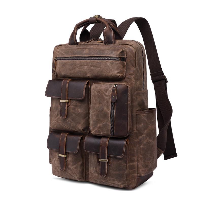 源点油蜡帆布包双肩背包男旅行复古帆布包大容量户外男包厂家直销